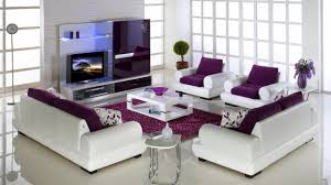 Living Room With Purple Sofa Living Room Chic White Color Scheme Living Room With Purple