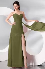olive green plain sleeveless zip up chiffon floor length prom