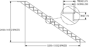 35 stair riser height dimensioned drawing showing complete stair