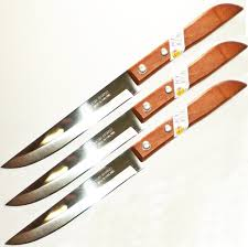 Wooden Handle Kitchen Knives by Amazon Com Set Of 3 Kiwi Stainless Steel Knives Wood Handle
