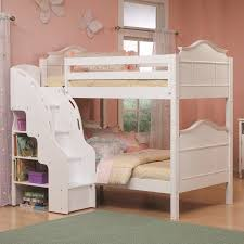 Double Deck Bed Designs With Drawer White Wood Bunk Bed With Double Beds And Stairs Completed By
