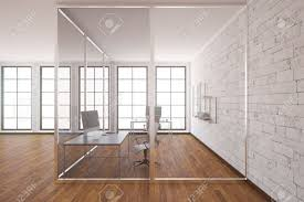 glass box architecture modern glass box office interior with wooden floor white brick