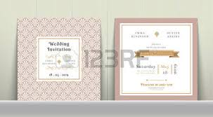 art deco wedding invitation card in gold and pink on wood
