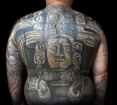 realistic stone male mayan 3d full back shaded tattoo design