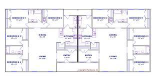 Duplex Narrow Lot Floor Plans Duplex Plans Different Sides Plan Total Living Area Sq Ft Bedrooms