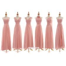 6 styles design floor length pink bridesmaid dresses