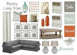 seaside interiors beachy living room with grays and orange