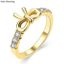 ring weeding high quality gift zircon ring weeding decoration women bowknot