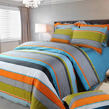 Orange Bed Sets Orange White And Blue Multi Color Rugby Stripe And Pinstripe