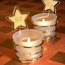 candle favors gold 50th frosted glass votive candle favors