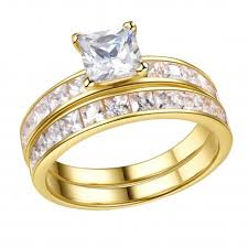 bridal ring set gold plated sterling silver cubic zirconia 1 25ct princess cut
