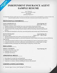 Resume Formats And Examples by Independent Insurance Agent Resume Sample Resume Samples Across