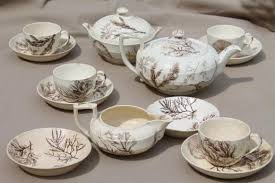 vintage tea set antique wedgwood seaweed brown transferware china aesthetic