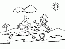 happy kid on the beach coloring page for kids seasons coloring