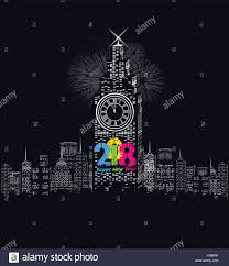led new years happy new year 2018 written with sparkle firework and led stock