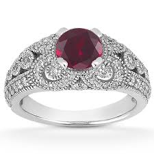 ruby rings price images Vintage style ruby and diamond engagement ring jpg