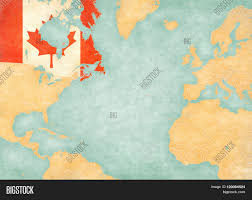 Canada On The Map by Canada Canadian Flag On The Map Of North Atlantic Ocean The Map