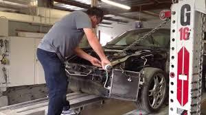 porsche technician 997 porsche carrera s front collision repair frame pull sheet