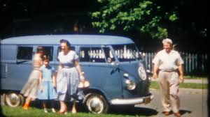 van volkswagen vintage great shot of family and their classic 1950 u0027s volkswagen bus at