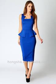2014 ladies elegant navy blue sleeveless midi bodycon peplum