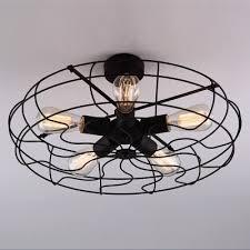 Wrought Iron Ceiling Lights Novelty Loft Industry Wrought Iron Fan Led To Ceiling Light