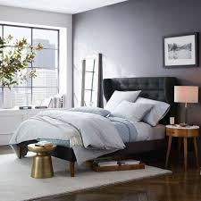 West Elm Bedroom Furniture Sale Tweed Mid Century Winged Headboard Bed With Solid Wood Legs
