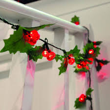 Garland Fairy Lights by 2 8m Holly Berry Garland Fairy Lights 40 Red Bulbs