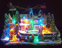 animated christmas village moving santa sleigh 2 reindeer led