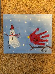 snowman footprint and cardinal handprint grandparent christmas