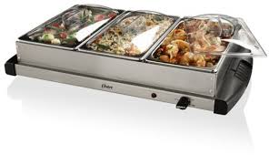 buffet server stainless steel warming triple food tray chafing