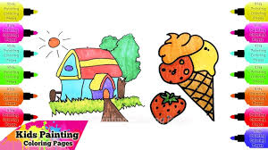 how to draw house ice cream for kids alphabet coloring page