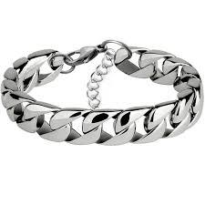 stainless steel chain bracelet images Miami cuban stainless steel chain bracelets men 7mm flat curb jpg