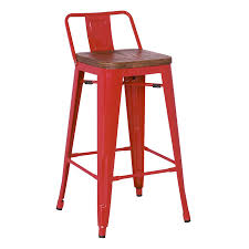 Low Back Bar Stool Metro Modern Low Back Red Bar Stool Eurway Furniture