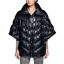 nike womens cascade down poncho jacket black feather at