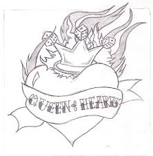 queen of hearts tattoo sketch photos pictures and sketches