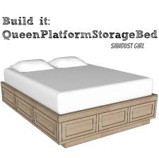 queen size platform storage bed plans from sawdust girl with
