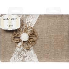 guest book david tutera casual elegance burlap lace guestbook joann
