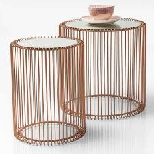 mirrored copper side tables set of 2 side tables