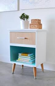 mid century modern nightstand makeover love the plywood veneer