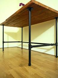 wood and pipe table black pipe desk wood desk with black pipe legs solid wood table