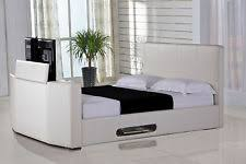 faux leather bed frames u0026 divan bases with built in tv stand ebay