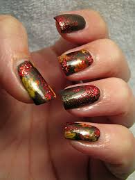 over the top coat autumn leaves manicure