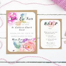 wedding invitations and rsvp summer bloom wedding invitation by studio