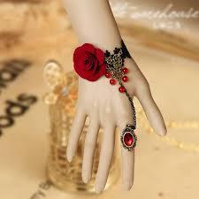 handmade flower bracelet images Black diy vampire lace bracelet vintage handmade fabric flowers jpg