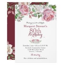 80th birthday invitations 80th birthday vintage roses invitations announcements zazzle