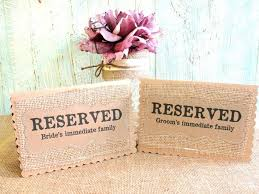 reserved signs for wedding tables reserved wedding table cards set of 3 place holder burlap kraft