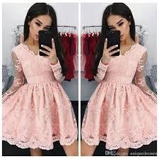 light pink graduation dresses pink vintage v neck short homecoming dresses 2018 long sleeves full