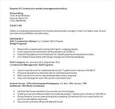 Resume Of Construction Worker Resume Construction Worker Resume Objective Samples Template Word