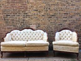 Tufted Vintage Sofa by Vintahe Tufted White Settee Beautiful Couches Generva