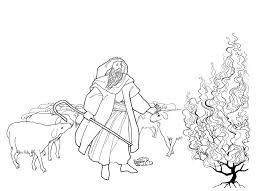 modest moses and the burning bush coloring pag 5989 unknown